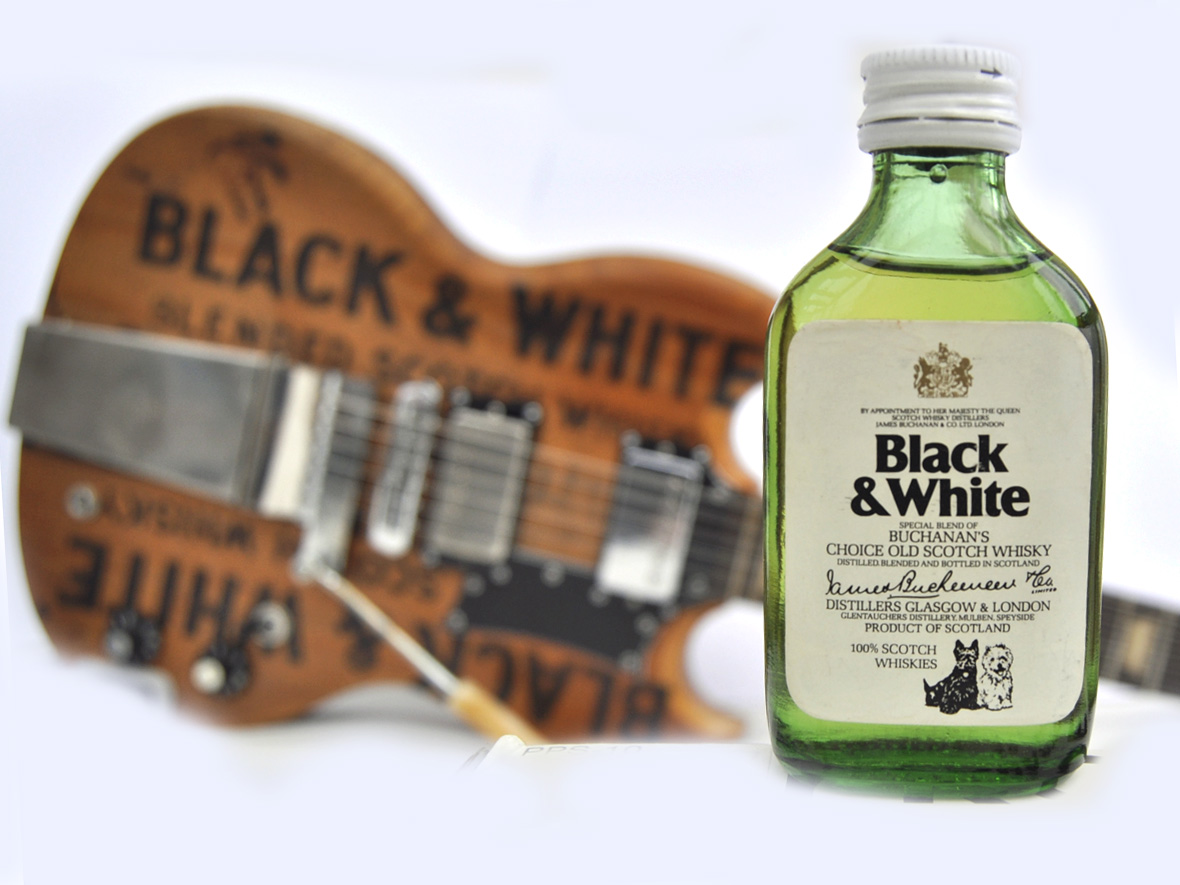 Black & White Blended Scotch Whisky Bottle Glasgow Scotland Wood with Veranda Guitar Gibson SG Standard