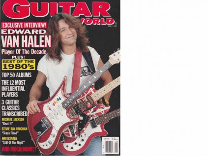 "Eddie van Halen mit Teisco Spectrum5 in der ""Guitar-World"" 1990"
